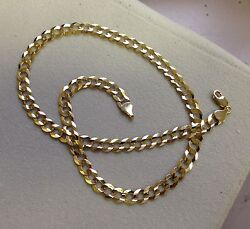 10k Solid Gold Comfort Concave Cuban Curb Link Chain Necklace 26