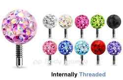 Crystal Ferido Epoxy Covered Replacement Ball Tragus Labret Top 16G 3mm 4mm 5mm
