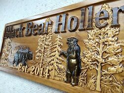 Personalized Wooden Sign Lake House Cabin Decor Camper Custom Carved Black Bear