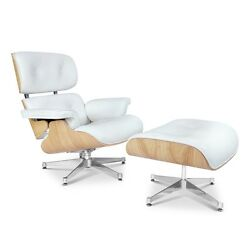 Eames Style Ashwood Lounge Chair and Ottoman Set in White Top Grain Leather
