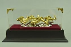 Hot Cast Masterpiece Fish Fishes Ocean Home Cabin Decor 24K Gold Bronze