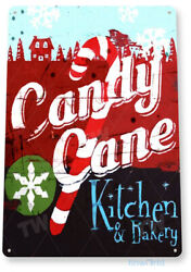 TIN SIGN Candy Cane Kitchen Metal Wall Art Christmas Holiday Cottage Bar A869 $9.25