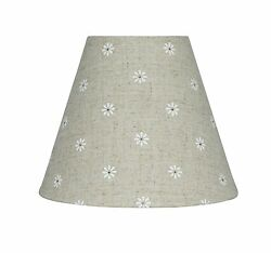 Urbanest Mini Chandelier Lamp Shade Natural Linen w Daisies 6 inch Hardback $7.99