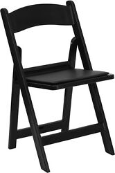 100 PACK Black Resin Folding Chair with Black Vinyl Padded Seat - Wedding Chairs