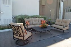 Santa Anita Outdoor Patio 5pc Seating Group Cast Aluminum Sunbrella cushions