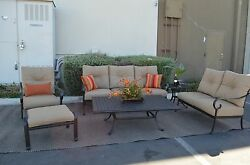 Santa Anita Outdoor Patio 6pc Seating Group Cast Aluminum Sunbrella cushions