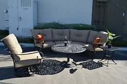 Santa Anita Outdoor Patio 4pc Seating Group Cast Aluminum Sunbrella Cushions