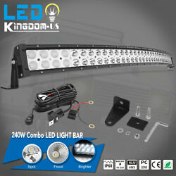 4D 42inch 400W Curved LED Light Bar Flood Spot Combo Off road Truck 4WD For JEEP $51.99