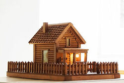 Antique American Folk Art Log Cabin Light Decorative Piece