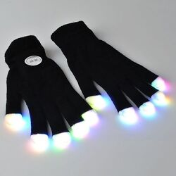 LED Rave Flashing Gloves Finger 7 Mode Dark Light Lighting Glow Electro Colorful $8.25