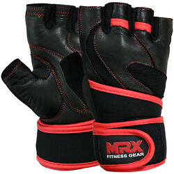Weight Lifting Gloves Leather Workout Gym Exercise Training Wrist Strap Unisex $13.99