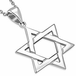 925 Sterling Silver Classic Simple Unisex Jewish Star of David Pendant Necklace