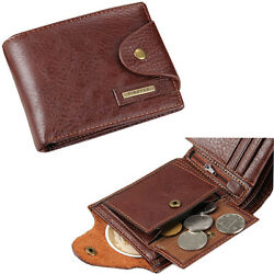 Men#x27;s Bifold Leather Card Holder Wallet with Flap Coin Pocket Convenient Purse $8.99