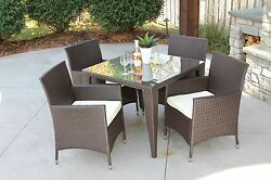 5 PC Standard Outdoor All Weather Wicker Rattan Table Patio Set Furniture Dining