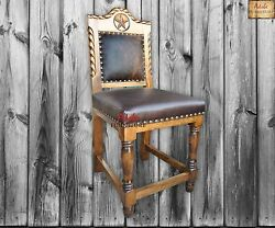 Texhoma Western Rustic Bar Stool with Studded Leather  Cowhide * Soild Wood