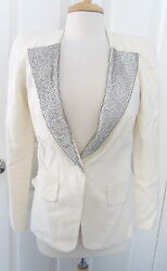 CHLOE RARE Milk White Rhinestone Trim JACKET FRANCE SZ 34 Ramie Flax Silk