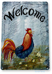 TIN SIGN Welcome Rooster Beach House Cottage Farm Home Mat Art Kitchen B058 $8.95