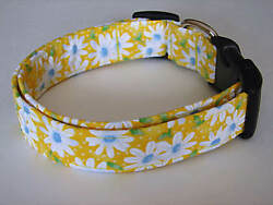 Charming Yellow with White Daisies Daisy amp; Dots Dog Collar $9.95