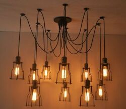 6 8 10 Bulb Lights Edison Chandelier Suspension Ceiling Pendant Lamp Spider GBP 98.99