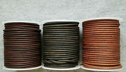 Round Leather Cord Antique Distressed Various Colors Lengths Widths 1mm 2mm 3mm
