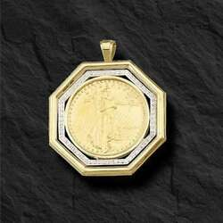 22KT FINE GOLD 1 OZ LADY LIBERTY COIN WITH .65 TCW DIAMONDS-14KT FRAME PENDANT