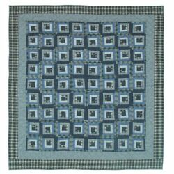 Patch Magic Blue Log Cabin Luxury King Quilt 120-Inch by 106-Inch New Free Sh