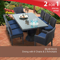 Rustico Rectangular Outdoor Patio Dining Table With 8 Chairs 2 for 1