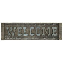 quot;WELCOMEquot; Wood Galvanized letters Rustic Decor Sign Cottage Cabin Farmhouse 24quot;L $39.88