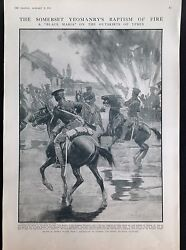 WW1 Ypres Somerset Yeomanry Soldiers Black Maria ANTIQUE PRINT 1915 GBP 7.99