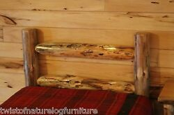 Western Corral LOG HEADBOARD  FAST - Free Rustic Cabin Decor  SPACE SAVER Style