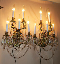 2 Sconce Museum CRYSTAL prism Rococo Vintage Gilt Bronze Brass FRENCH Dore Signe $1367.00
