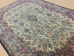 8.8 X 13 Antique 1920's Persian Kerman Oriental Area Rug Hand Knotted Wool Beige