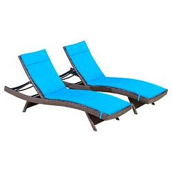 Christopher Knight Home Wicker Patio Adjustable Chaise Lounge with Cushion (S...