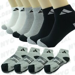 Adi 3 6 9 12 Pairs Sport Ankle Quarter Crew Mens Socks Cotton low cut Size 10 13 $14.99