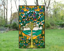 20quot; x 34quot; Large Handcrafted stained glass window panel Tree of Life $239.99