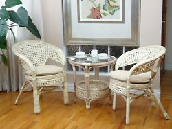 Pelangi Rattan Wicker Lounge Set of 2 Chairs and Coffee Table