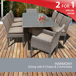 Harmony Rectangular Outdoor Patio Dining Table With 8 Chairs 2 For 1