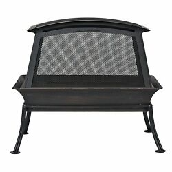 Portable Steel Fire Pit 2 Removable Doors Outdoor Deck Fireplace Backyard Patio