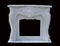 BEAUTIFUL HAND CARVED MARBLE EUROPEAN FRENCH DESIGN DESIGNER FIREPLACE MANTEL