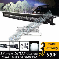 19 Inch LED CURVED SINGLE ROW OFF ROAD LIGHT BAR WORK LAMP For SUV ATV 4X4 4WD $89.50
