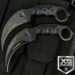 2pc TACTICAL COMBAT KARAMBIT KNIFE Survival Hunting BOWIE Fixed Blade w SHEATH $13.95