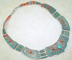 SPECTACULAR SANTA ROSA TURQUOISE & RED CORAL TRIBAL SILVER NECKLACE 18 12
