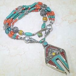 HUGE HANDCRAFTED SANTA ROSA TURQUOISE & RED CORAL TRIBAL SILVER NECKLACE 22