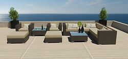 11PC Modern Outdoor All Weather Wicker Rattan Patio Set Sectional Sofa Furniture