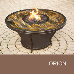 Agio Orion - 48 Inch Round Stained Glass Top Gas Fire Pit Table
