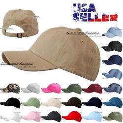 Baseball Cap Washed Cotton Polo Style Adjustable Plain Solid Dad Hat Mens Hats