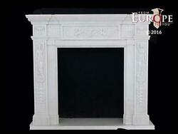 BEAUTIFUL HAND CARVED MARBLE CLASSICAL EUROPEAN DESIGN FIREPLACE MANTEL - CM3