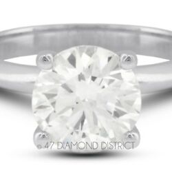 3.17ct. G-SI2 Ex Round AGI Certify Diamond 14K Gold Classic Engagement Ring 2.7g