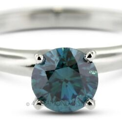 2.06ct. Blue-VS2 VG Round Certify Diamond 14K Gold Classic Engagement Ring 2.6gm