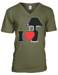I Love Lamp Heart lt;3 Light You Quote Silly Crazy Like Funny Men#x27;s V Neck T Shirt $15.16